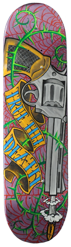 True 'Till Death acrylic painting on skateboard deck. Local Tattoo Lansing Michigan Greg Drake painting.