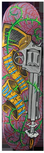 True 'Till Death acrylic painting on skateboard deck. Local Tattoo Lansing Michigan Greg Drake painting.