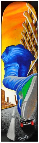 Keep On Pushing acrylic painting on skateboard deck. Local Tattoo Lansing Michigan Greg Drake painting.