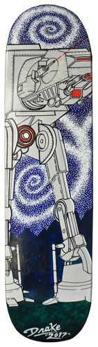 Star Wars ATAT Walker acrylic painting on skateboard deck. Local Tattoo Lansing Michigan Greg Drake painting.